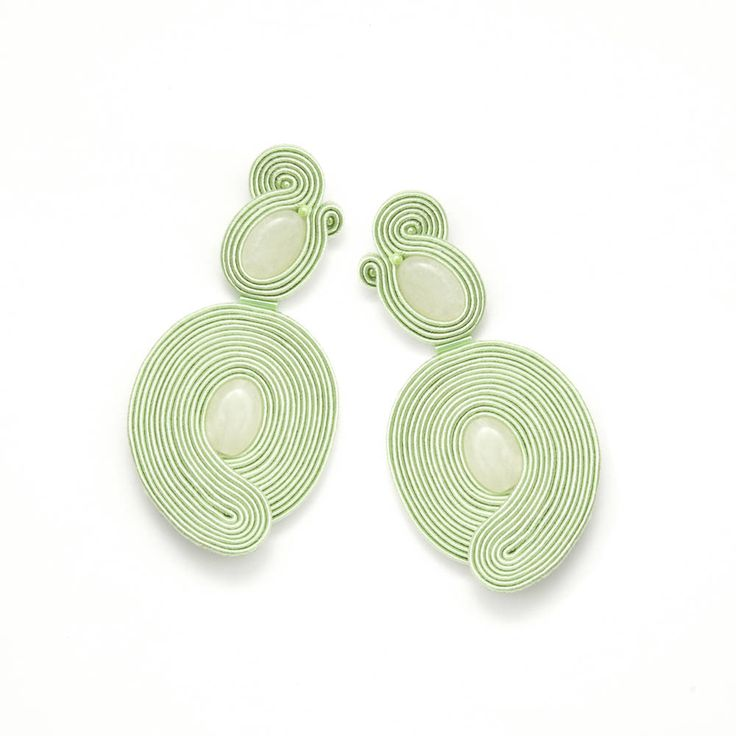 Large lime earrings, Lemon jade earrings, Unique big earrings, Lime green soutache earrings, Large stone earrings, Simple design earrings.  Made of: Ear studs (sterling silver (925)), Gemstones (jade), seed beads, soutache. Back is made of thin, delicate leather.  Size: Length - about 7 cm (about 2.8) Width - about 3,5 cm (about 1.4)  Lightweight.  Colors may vary a bit because of monitor screens or mobile device screens…