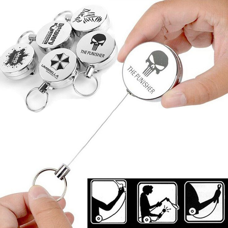 1pcs High Resilience Steel Wire Rope Chain Recoil Metal Retractable Key Chain Alarm Key Ring Anti Lost Keychain Badge Reel Belt
