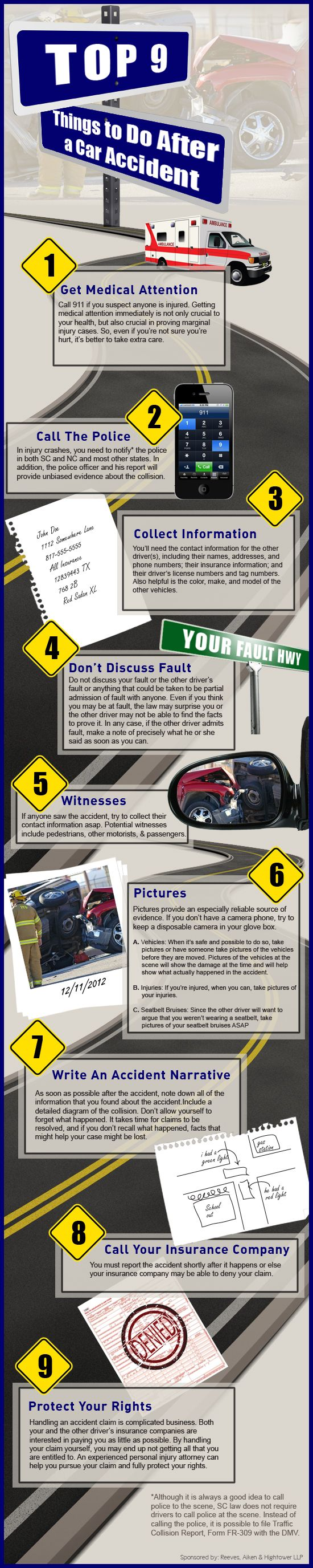 Color car with most accidents - Top 9 Things To Do After A Car Accident Infographic