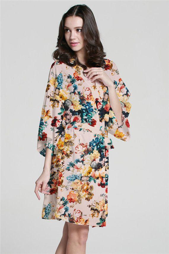 XF0001 Peignoirs Kimono Floral blanc personnalisé pour par MilkRobe