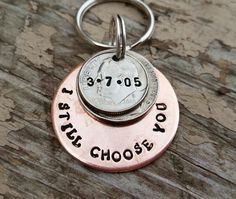 15 year anniversary keychain handstamped gift 15th anniversary for men husband wife lucky us couples 15 years and counting 2001 wedding by TiffysLove on Etsy
