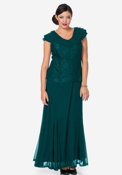Langes Kleid mit Spitze - Smaragd