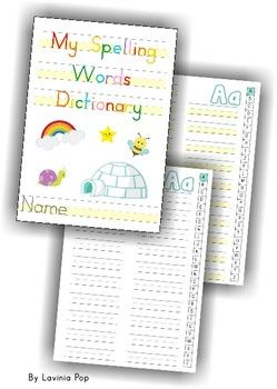 My Spelling Words Dictionary {FREE}. Also includes highlighted handwriting lines to help children who struggle with letter size differentiation.