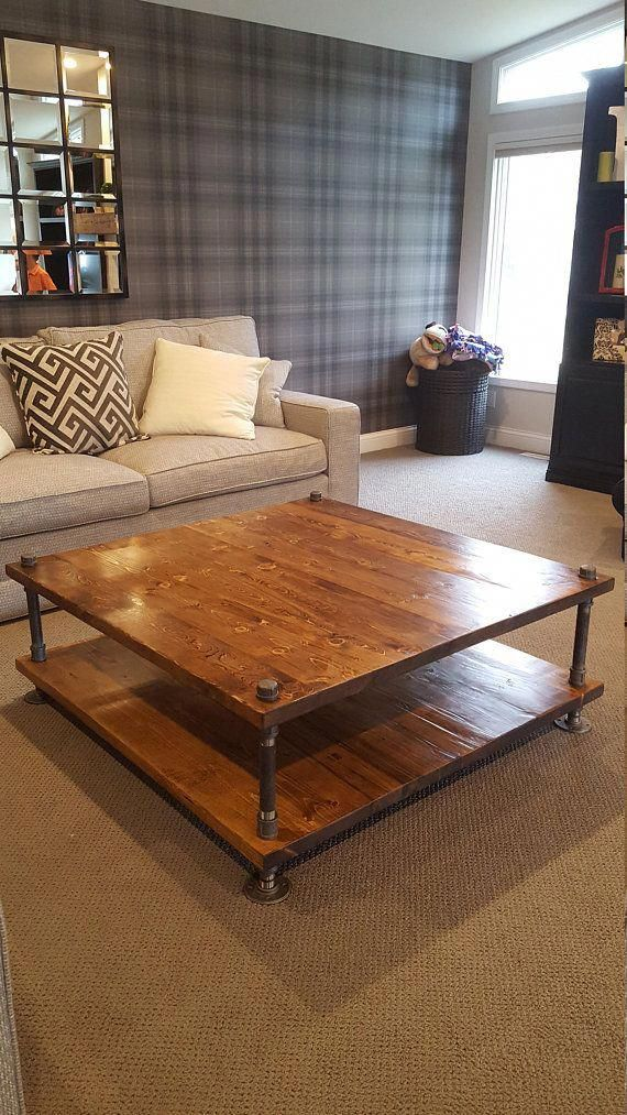 Square Industrial Coffee Table – Industrial Coffee Table with Storage – Pipe and Wood Coffee Table,