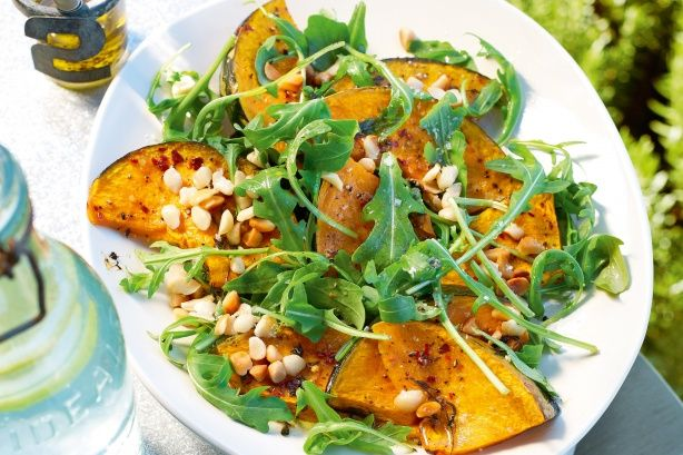 Roasted pumpkin with rocket and toasted macadamia nuts makes a fabulous Australia Day salad.