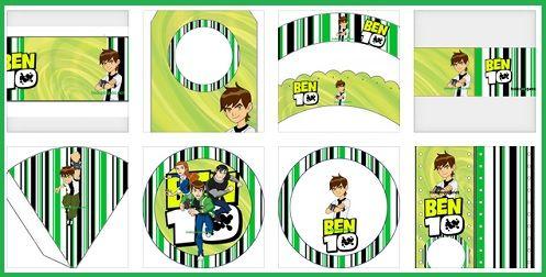 Paradecorar la fiesta de cumpleañoscon temática deBen10, te ofrecemos unos nuevos diseños, entre otros podrás encontrar señaladores, etiquetas circulares, adornos para cupcakes, algunos rotulado...