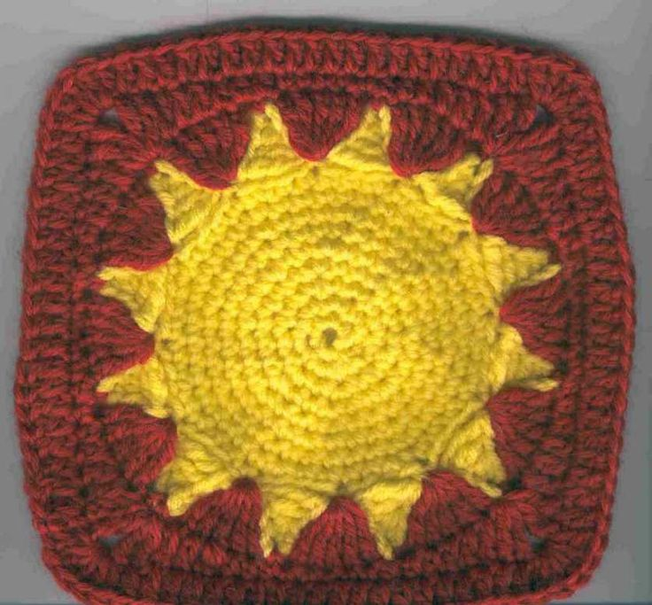 "Summer Sun Square. I love this design mostly because of the sun but partly because it's a ""solid"" design....no spaces or gaps! ¯\_(ツ)_/¯"