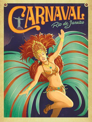 Carnaval - Rio De Janeiro, Brazil promotional destination classic travel poster