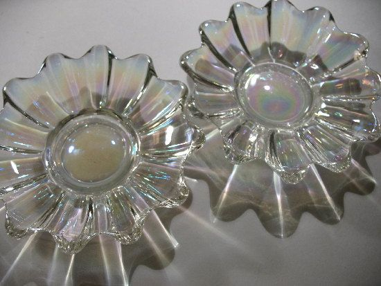A Pair of Vintage Iridescent Federal Glass Dishes by Vintageisnow