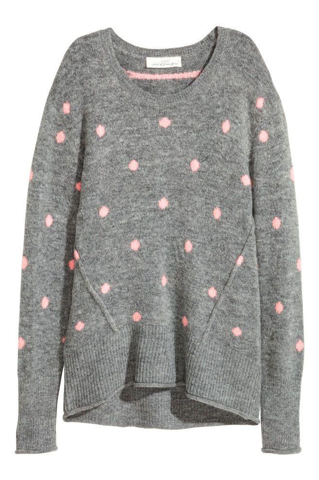 0f94e396b Camisola em malha - Cinzento Bolas rosa - SENHORA