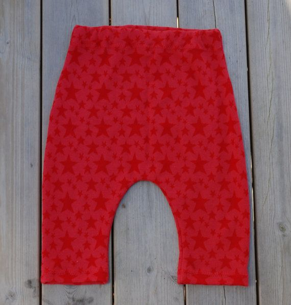 Red star baby leggings bamboo and cotton fabric  baby by leonorafi
