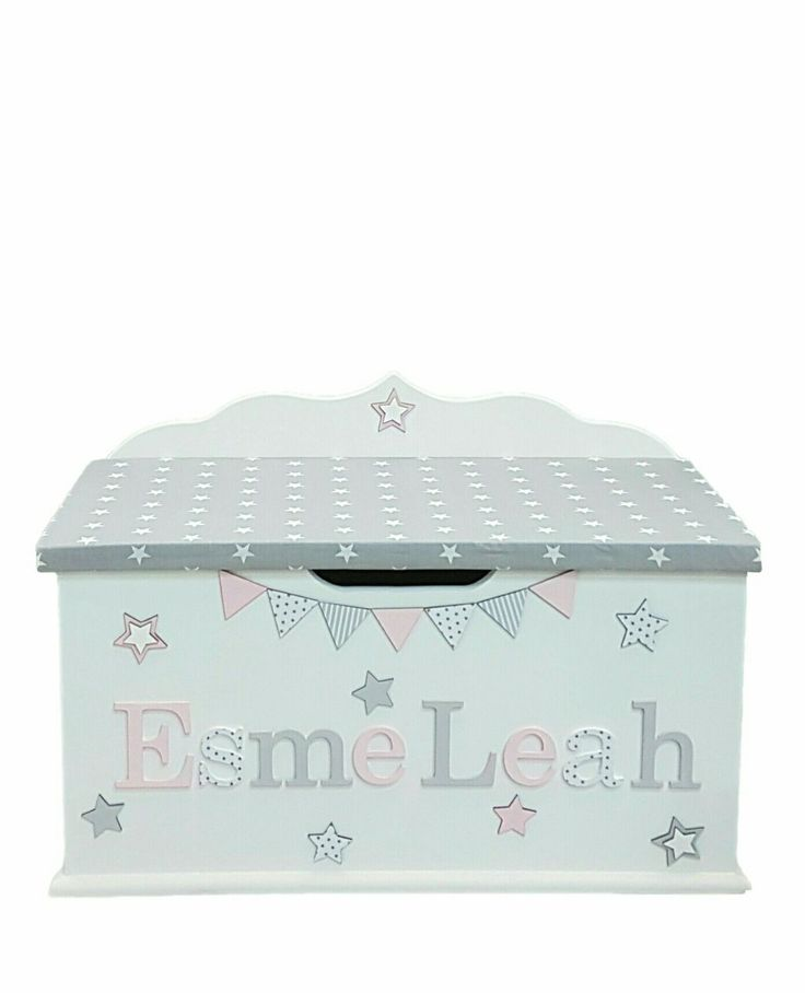 personalised toy box children baby kids first birthday Christmas bespoke handmade Dreambox toy boxes names bedroom nursery furniture storage parents pregnancy newborn new parents home style pink grey stars #kidsbedroomfurniture