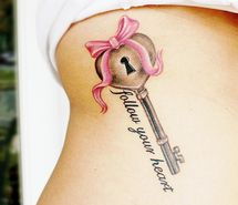 Inspiring picture follow your heart, heart, key, ribbon, tattoo. Resolution: 472x478 px. Find the picture to your taste!