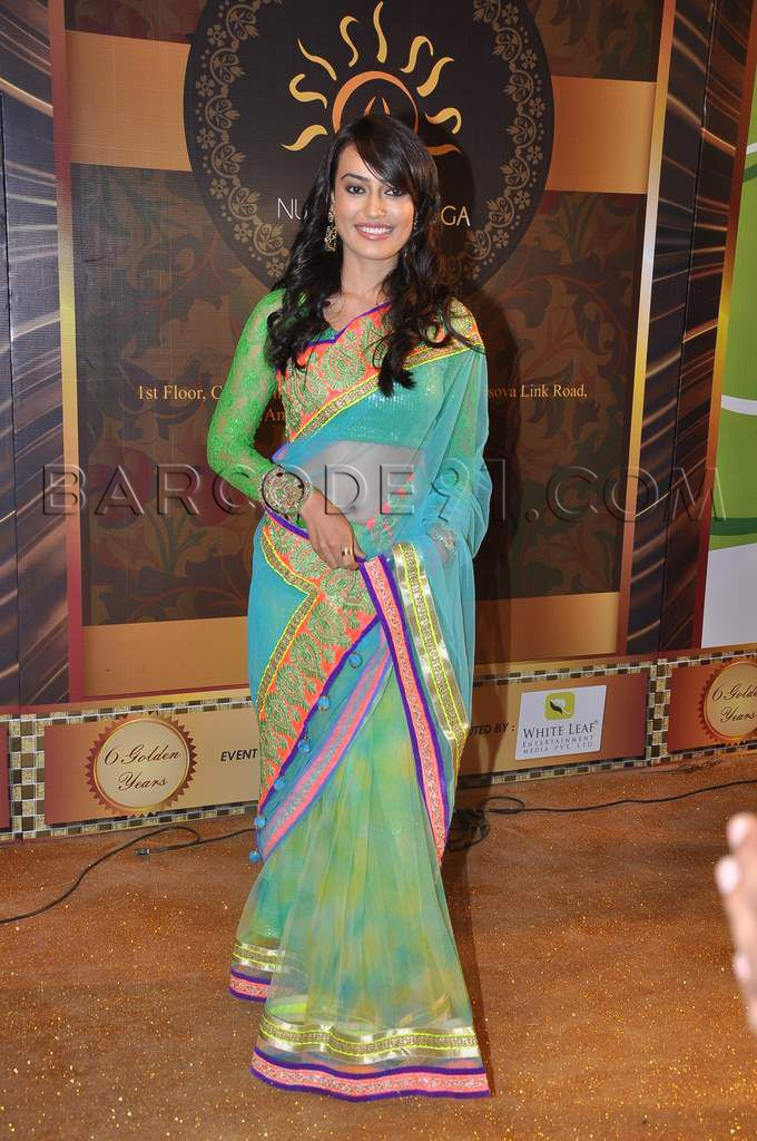 Surbhi Jyoti in a beautiful saree at the boroplus Gold awards 2013.