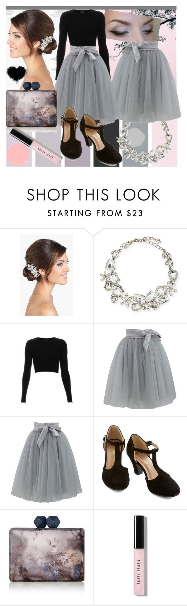 """""""Twilight Shadows in the Garden"""" by alis0nnels0n ❤ liked on Polyvore featuring Seed Design, Wedding Belles New York, Oscar de la Renta, Topshop, Chicwish, Coast, Bobbi Brown Cosmetics, Pink, grey and tulleskirts"""
