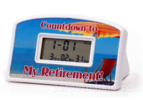 "RETIREMENT COUNTDOWN CLOCK    Congratulations, you're soon leaving the rat race and retiring to your favorite chair or you get to do something fun all the time now!    With our My Retirement Countdown Clock you can count down the days, hrs, mins, & secs to completion of all those projects on your honey-do list because, once you are retired, the list will never end.  4"" wide and 2.5"" tall   2 AA batteries (not included).    $9.99    http://www.perpetualkid.com/retirement-countdown-timer.aspx"