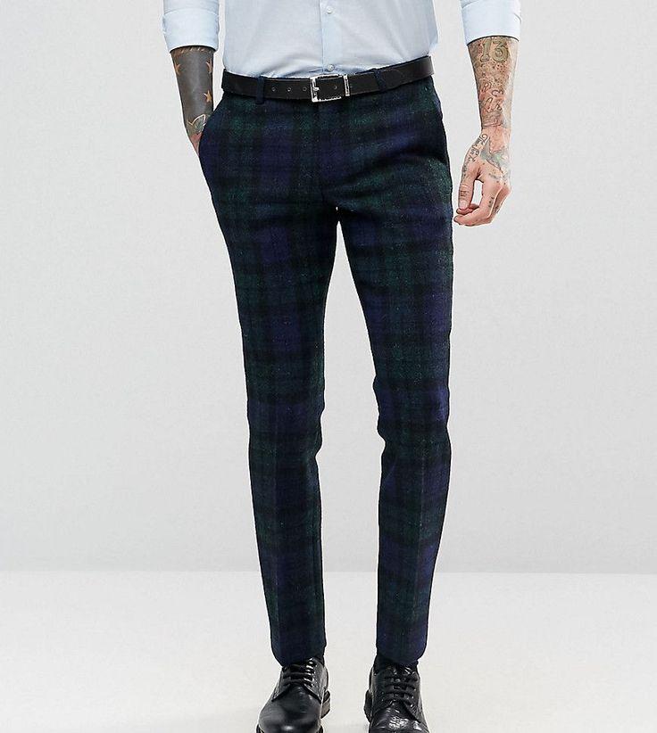 Noose & Monkey Harris Tweed Super Skinny Suit Pants In Plaid - Navy