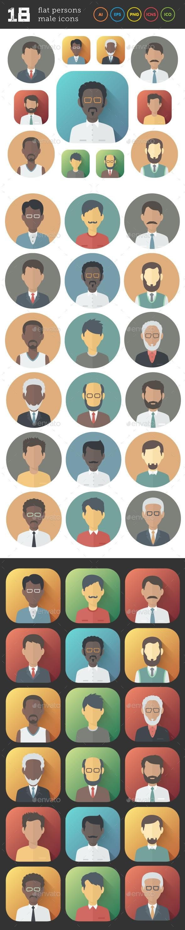 Flat Icons Set of Male Persons #characters