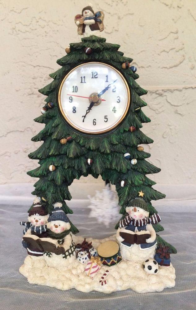 Snowman Christmas Tree Carolers Table Clock Moving Pendulum Herco Professional