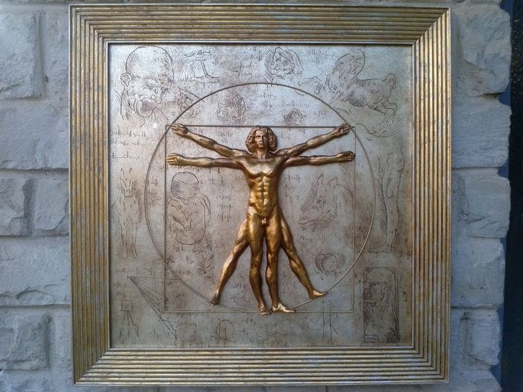 The Vitruvian Man, Leonardo da Vinci We realized this masterpiece using the authentic paper mache trdition,not only we reinforze this masterpiece with gauze. In the middle you will see the Vitruvian man in hight relief and decorated with gold leaf. The background it's completly decorate in silver leaf and embellished with particular engravings that picture others Leonardo's drawings; the whole contex is decorate with a frame that mix the two kind of leaves use in this piece of interior…