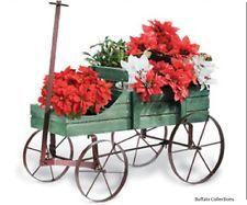 Vagón de madera Amish Green país De Decoración De Jardín Estatua Plantador…