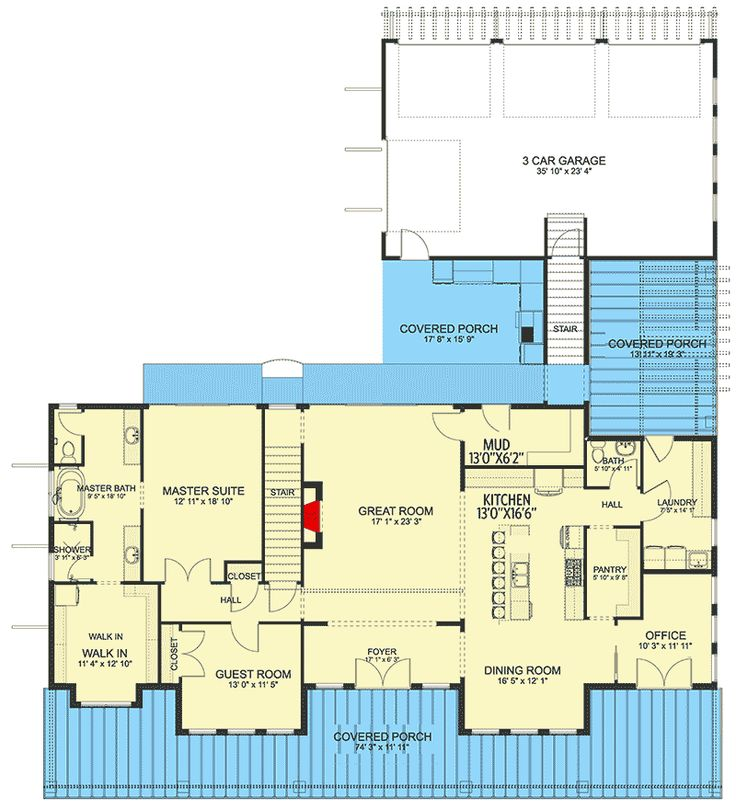 Plan 61333UT Spacious Twostory House Plan with Inlaw