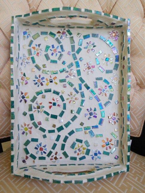 Mosaic Tray mosaic with iridescent glass tiles mosaic