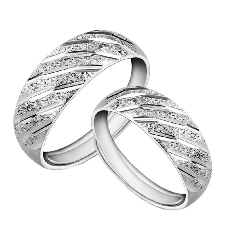 1 Pairs Lovers Shiny Star Silver Color  Couple Rings Wedding Band His and Her Promise Ring