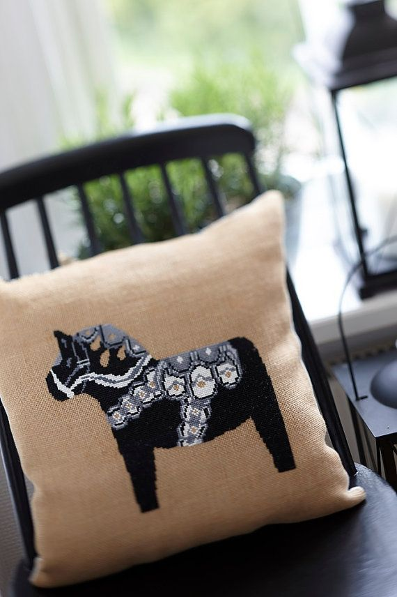 Pillow cover DALA HORSE - scandinavian,swedish,cushion,handmade,diy pillow,needlepoint,embroidery,cross stitch,black,anette eriksson,pattern