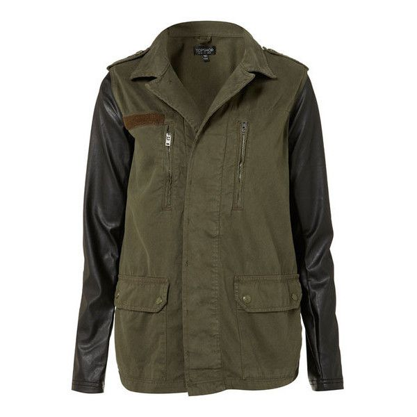 Contrast Sleeve Army Jacket ❤ liked on Polyvore featuring outerwear, jackets, coats, tops, straight jacket and army jacket