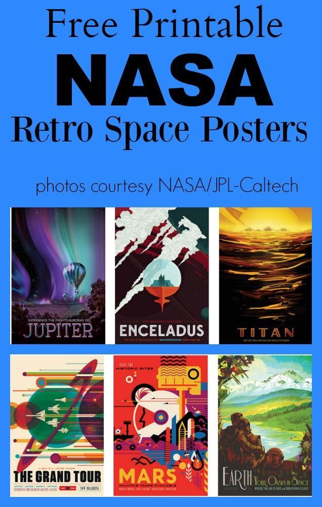 FREE Retro NASA Space Posters - SO cool and cover different planets and aspects of the solar system. Just click to download the poster you want and print! I would love this in my classroom or homeschool room!