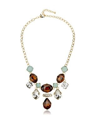 65% OFF Leslie Danzis Green/Brown Crystal Droplet Necklace