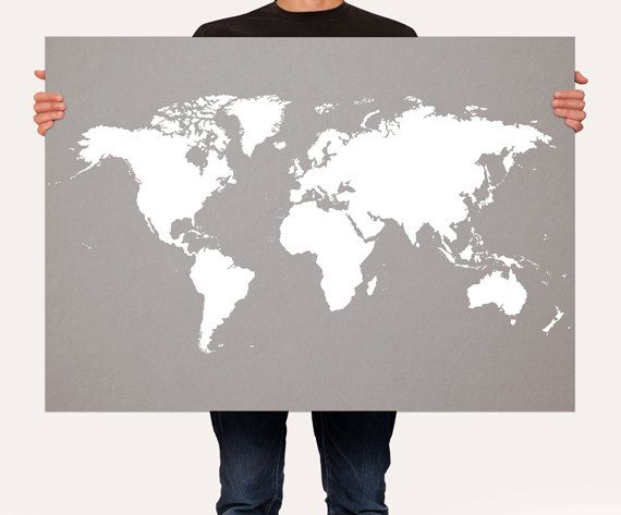 World Map Poster Customizable Color Map World Map Art by Macanaz
