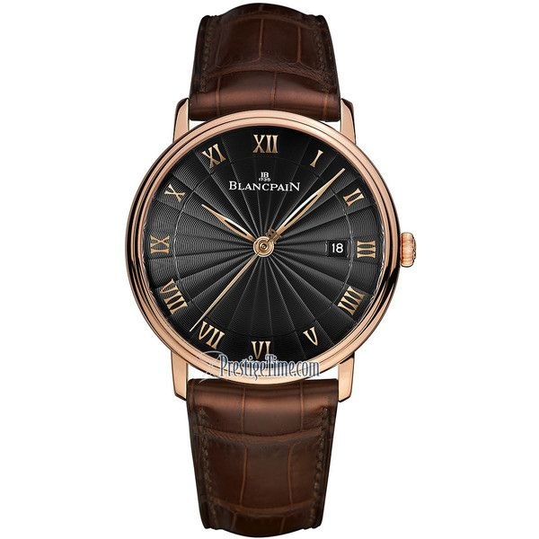 Blancpain Villeret Ultra Slim Automatic 40mm 6651-3630-55br Watch ($15,678) ❤ liked on Polyvore featuring men's fashion, men's jewelry, men's watches, mens rose gold watches, slim mens watches and blue dial mens watches