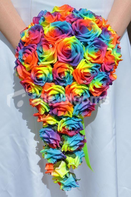 Vibrant Artificial Neon Rainbow Rose Cascade Wedding Bridal Bouquet #artificial…