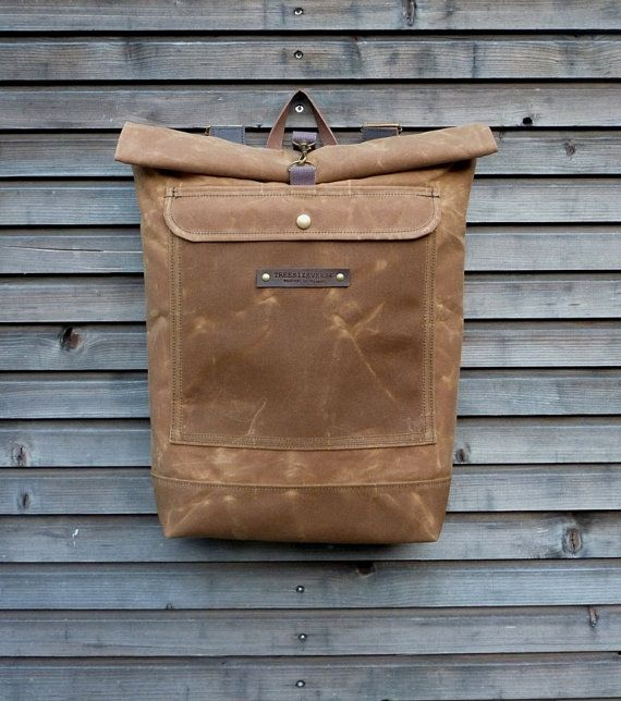 Waxed canvas rucksack / waterproof backpack with roll up top and double waxed bottem COLLECTION UNISEX - for Justin