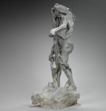 """Camille Claudel, """"Clotho"""", plaster Exhibited at the Paris Salon in 1893, this work drew its inspiration from Greco-Roman mythology. An appeal fund launched in 1895 to pay tribute to Puvis de Chavannes enabled a marble version to be commissioned from the artist. Completed in 1897 and shown at the Salon in 1899, the marble has unfortunately been lost. Clotho was the youngest of the Three Fates who decided human destiny."""