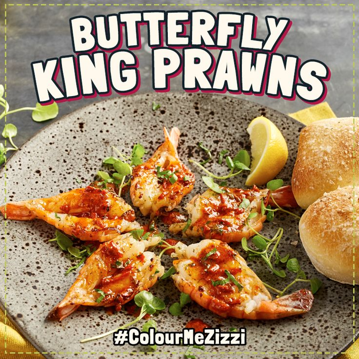 Butterfly King Prawns pan-fried in smoky capia pepper, garlic butter & white wine. Served with baby watercress & 'little soul' bread. #ColourMeZizzi