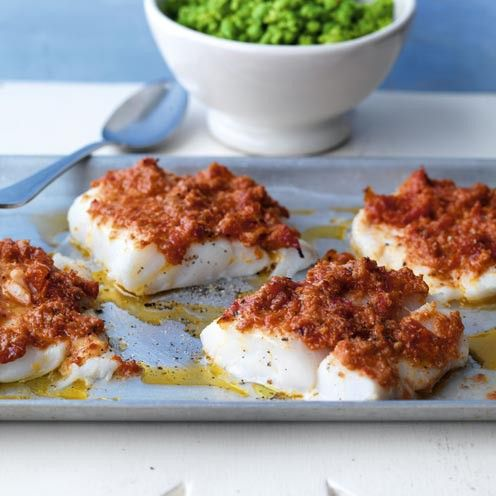 Crusted Cod with Minted Pea Mash