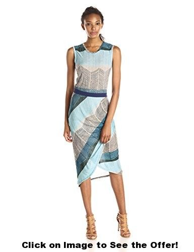 BCBGMax Azria Women's Mikela Dress with Wrapped Shirred Skirt