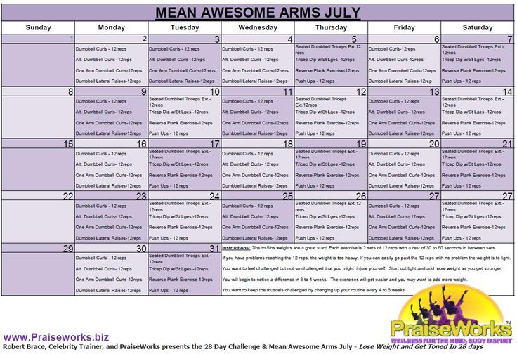 The month of July 2012- great program to get your arms toned. The great thing is it i never too late to start.