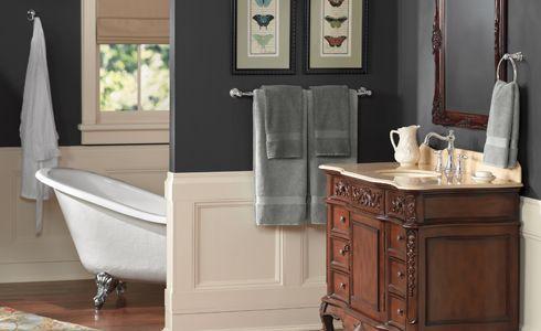 Steel Grey + Ivory + Mahogany Brown Bathroom