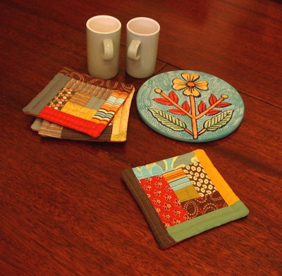individuales o posavasos en  PatchworkCrafts Ideas, Quilt Ideas, I Must Try, Cute Things, Patchwork Coasters, Individuales Quilt, Tables Runners Camino, Patchwork Ideas, My House