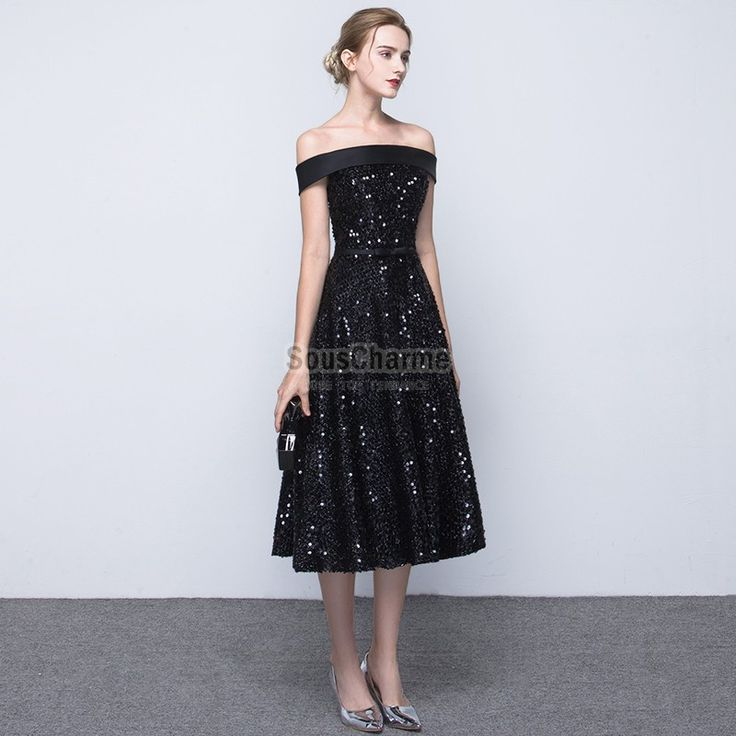 Robe soiree noire pailletee