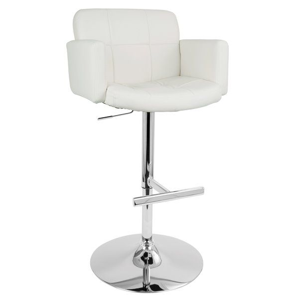 Lumisource Stout Faux White Leather Bar Stool 23 In X 24 In X 24