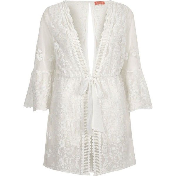 River Island White embroidered flare sleeve beach caftan (1,280 EGP) ❤ liked on Polyvore featuring caftans / cover-ups, swimwear / beachwear, white, women, long white kaftan, river island, long kaftan, beach caftan and white caftan