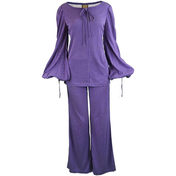 Biba Purple Polka Dot Two Piece Tunic Top & Palazzo Pant Suit, 1970s | See more vintage Trouser Pant Suits at https://www.1stdibs.com/fashion/clothing/suits-outfits-ensembles/trouser-pant-suits in 1stdibs