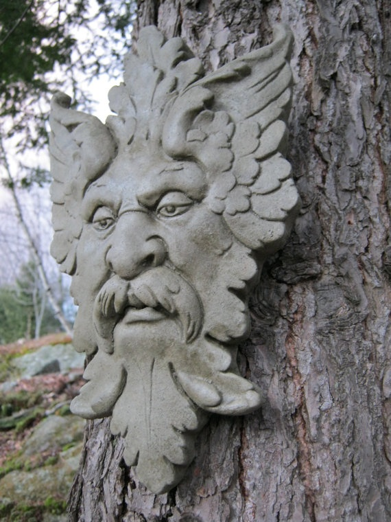 Green Man Garden Decor Hanging Face by WestWindHomeGarden on Etsy, $19.95