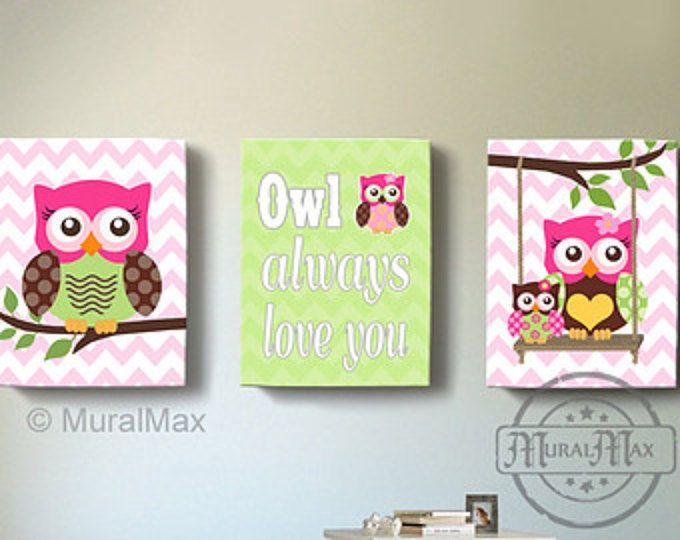 Owl Canvas Wall Art, Baby Girl Owl Nursery, Owl Nursery Decor, Owl print for nursery, Hotpink  and green