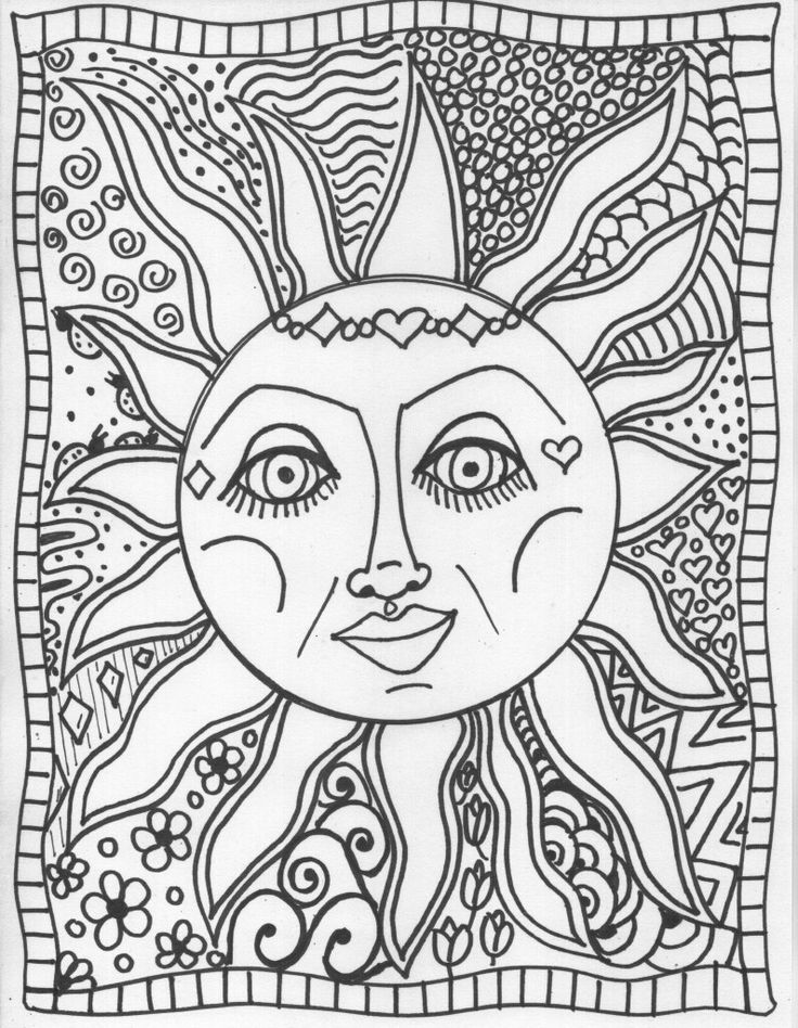 sun coloring pages adults bing images - Hippie Coloring Pages